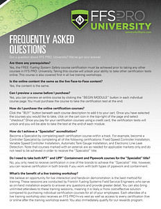 FFS PRO® University - Frequently Asked Questions (FAQ) Brochure